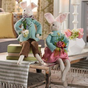 Boiled Wool Bunny Couple Figures by Valerie